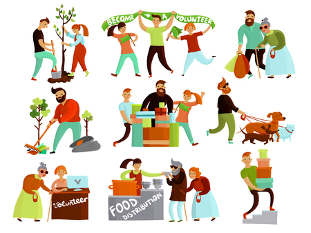 Volunteers helping people set of isolated cartoon style compositions of young humanitarian characters in various situations vector illustration Illustration