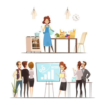Motherhood retro cartoon work family balance concept with cooking home and successful business presentation isolated vector illustration Illustration