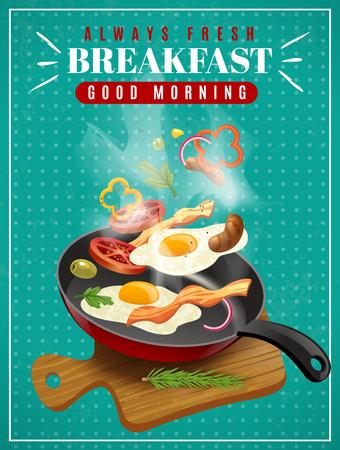 De verse ontbijtaffiche met pan van vleesgroenten gebraden eieren en scherpe raad op turkooise vectorillustratie als achtergrond