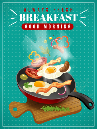 Fresh breakfast poster with meat vegetables fried eggs pan and cutting board on turquoise background vector illustration Vettoriali