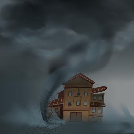 Tornado house composition with realistic image of cataclysm and accomodation unit under the convulsion of nature vector illustration