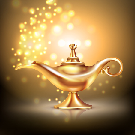 Aladdin lamp composition with luminous particles  lighting effects and oriental style vessel made of gold vector illustration