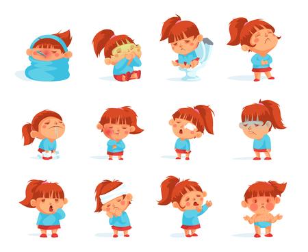 病気の子供のフィギュアの漫画のコレクションは、頭痛に苦しんで高温を持つウイルスに感染しました。