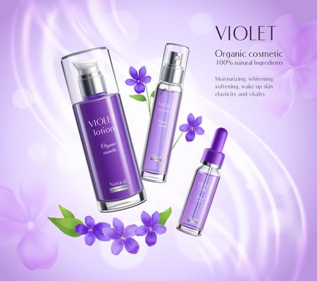 Organic cosmetics skincare products realistic advertisement poster with violets extract essence lotion dispenser colorful background vector illustration