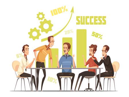 成功とアイデアを持つビジネスミーティング構成は、漫画ベクトルイラストを象徴します