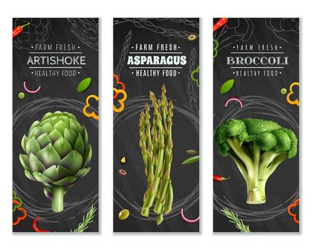 農場の新鮮な野菜ブロッコリーアーティチョークとアスパラガス現実的な画像ベクトルイラストと健康食品垂直バナー  イラスト・ベクター素材