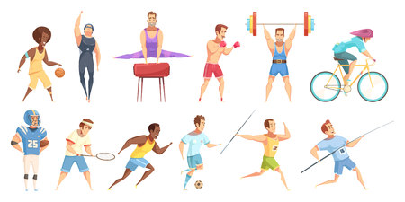 Sportsman retro cartoon set of flat isolated male athlete characters in physical fitness uniform with equipment vector illustration Illustration