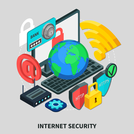 Internet security design concept set of laptop email http lock wireless modem globe isometric icons 3d vector illustration