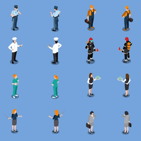 Professions uniform isometric people set of isolated human characters in various uniform representing different occupations vector illustration Illustration