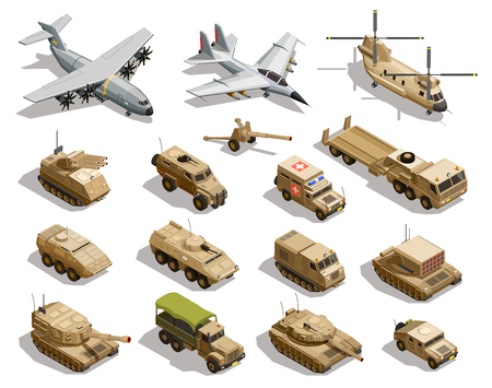 Isometrische Ikonensammlung des Armeetransports mit Militärfahrzeugen des Frachtflugzeughubschrauberflottenkämpfers lokalisierte Vektorillustration