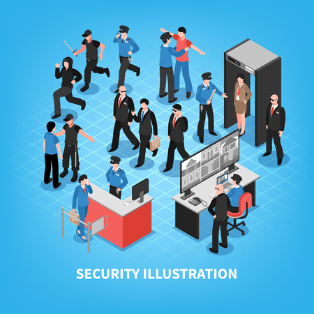 Security system composition with bodyguards, officers, criminals, access control, video surveillance on blue background isometric vector illustration