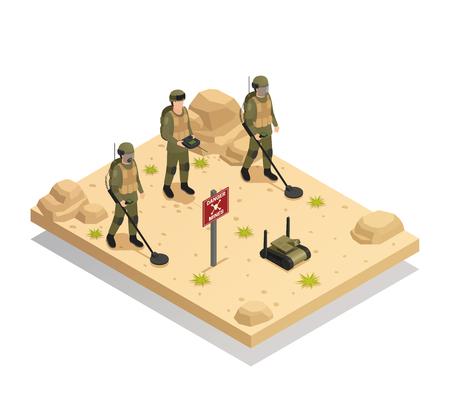 군사 지뢰 탐지 및 제거 벡터 일러스트 레이 션의 아이소 메트릭 구성 자동 demining 로봇과 장비를 지우기 군사 지뢰 일러스트