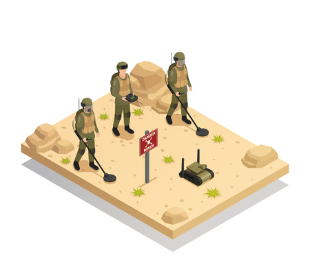 Military landmine clearing equipment with automated  demining robots isometric composition of mines detecting and removal vector illustration  Illustration