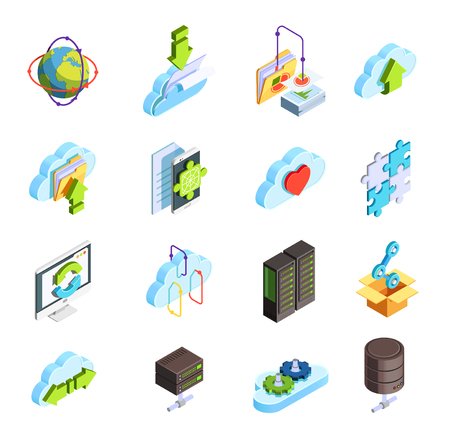 Cloud computing service isometric icons set with data folders connection sharing configuration apps symbols isolated vector illustration  Иллюстрация
