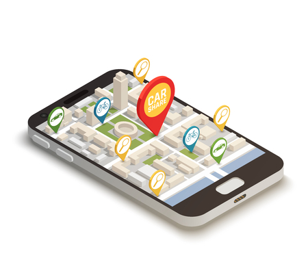 Find car online abstract composition with  mobile smartphone web application used for carsharing carpooling ridesharing isometric vector illustration