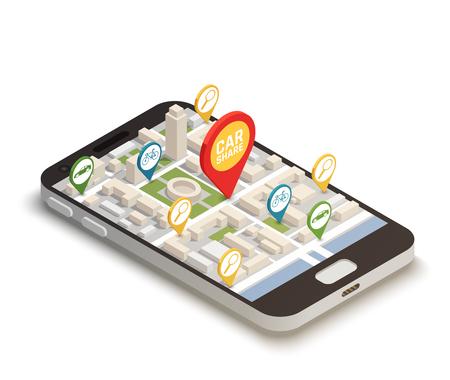 Vind auto online abstracte samenstelling met de mobiele toepassing van het smartphoneweb die voor carsharing carpooling wordt gebruikt die isometrische vectorillustratie ritten delen