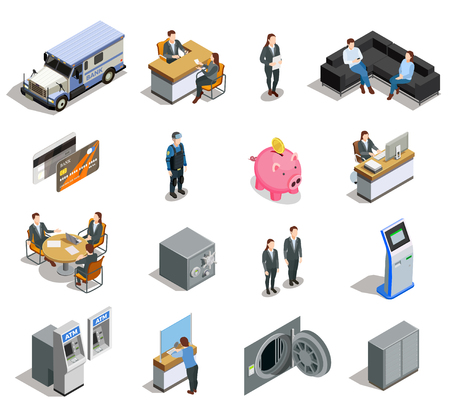 Bank isometric elements collection with customer service financial analyst bookkeeper credit card armored truck  isolated vector illustration