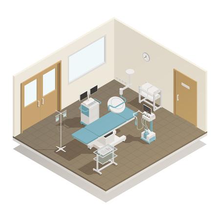 病院操作室手術の検討は、テーブル ライト冷却注入医療機器供給等角投影ビュー ベクトル図  イラスト・ベクター素材