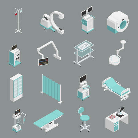Hospital medical equipment isometric icons collection with operation table patient bed infuse and mri scanner isolated vector illustration Illustration