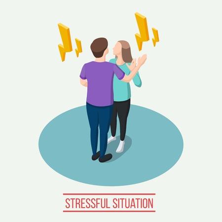 스트레스가 많은 상황, 감정적 인 통신하는 동안 남자와 여자 주위 노란색 lightnings 아이소 메트릭 컴포지션 그림.