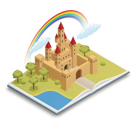 Het sprookjes open boek met 3d middeleeuwse boomgaard van de kasteelregenboog en isometrische de samenstellings vectorillustratie van de vijver