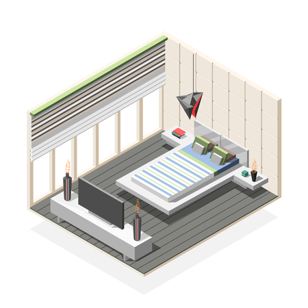 Futuristic bedroom interior isometric composition in white grey color with bed, night tables, tv vector illustration Reklamní fotografie - 92053651