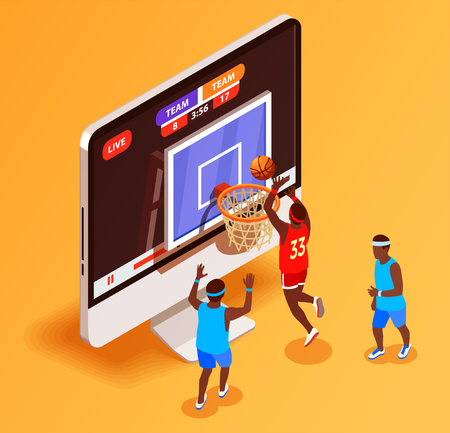 Basketball isometric betting online conceptual composition with desktop computer display and basketball hoop with player figures vector illustration