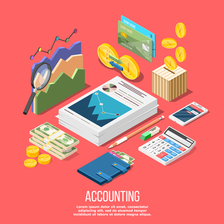 Isometric accounting composition with isolated images of accountant workspace elements money coins and financial stock graphs vector illustration