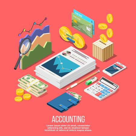 Isometrische boekhoudkundige samenstelling met geïsoleerde beelden van accountant werkruimte elementen geld munten en financiële voorraad grafieken vector illustratie