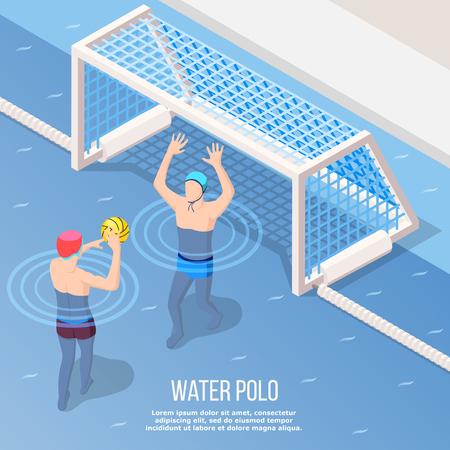 수영장 벡터 일러스트 레이 션에서 게이트에 공을 던져하는 동안 스포츠맨 물 폴로 아이소 메트릭 배경 일러스트