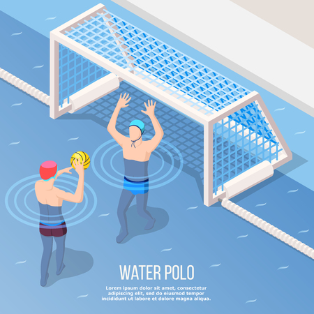Water polo isometric background with sportsman during throw of ball to gate in swimming pool vector illustration