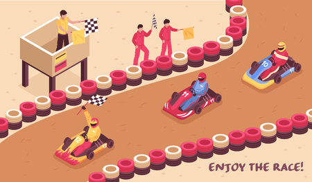 Isometric carting horizontal composition with view of race track racing drivers on carts and finish flags vector illustration Illustration