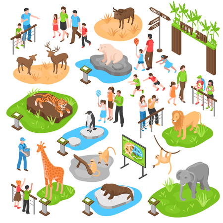 City zoo isometric set with adult and kid visitors and animals of african arctic asian zones isolated vector illustration Illustration