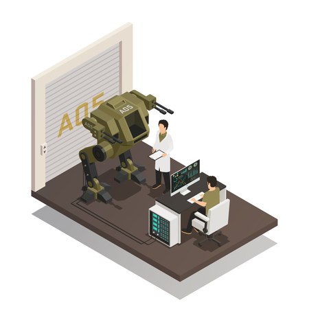 Fighting robots design concept with engineers in scientific lab interior involved in development of stormtrooper machine isometric vector illustration Ilustração