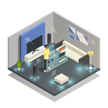 Hombre que llevaba gafas de realidad aumentada en ilustración de vector 3d composición isométrica habitación amueblada moderna Ilustración de vector