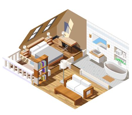 Appartement interieur isometrische compositie met badkamer in witte kleur, woonkamer, slaapkamer met ramen in dak vectorillustratie