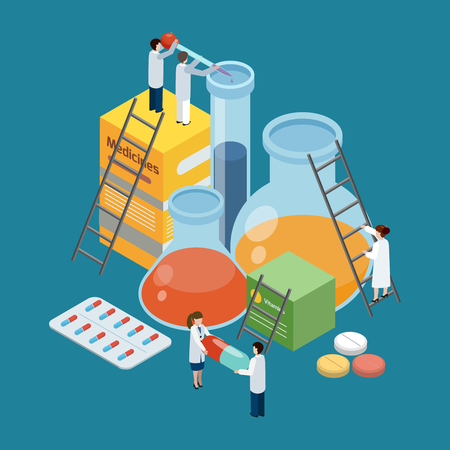 Pharmaceutical production symbolic, isometric background poster with lab researches climbing on medicine pills, packages illustration. Ilustração