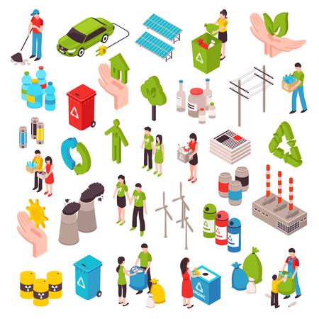 Is de ecologie isometrische reeks met mensen betrokken bij het schoonmaken van milieuafvalzakken zonnepanelen windturbines geïsoleerde vectorillustratie