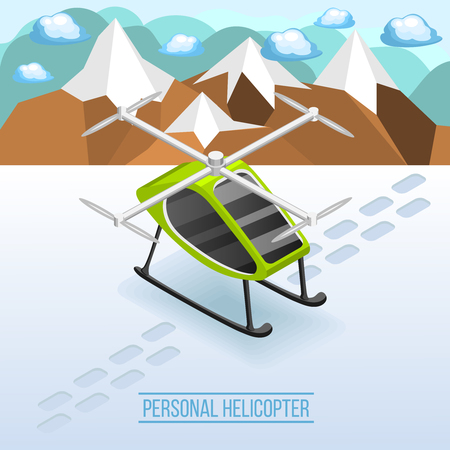 Future transport isometric winter background with personal helicopter parked on snow covered mountain landscape vector illustration
