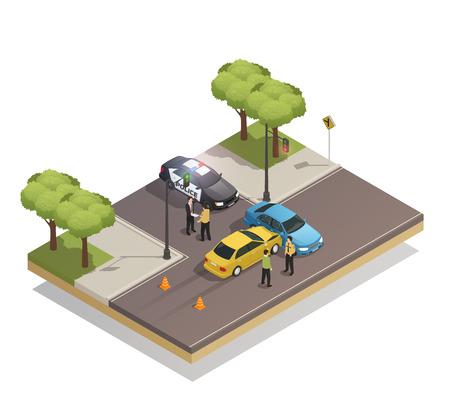Collision routière à la composition isométrique d'intersection avec des voitures impliquées dans un accident de la circulation et illustration vectorielle de véhicule de police Banque d'images - 92118192