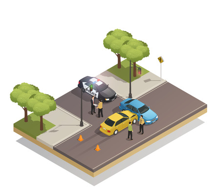 Road collision at intersection isometric composition with cars involved in traffic accident and police vehicle vector illustration
