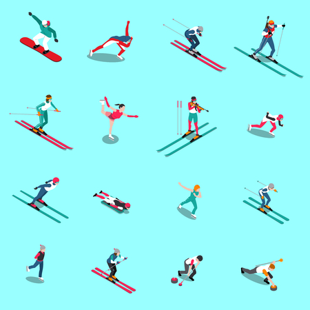 Winter sport isometric people set of isolated human figures of athletes in uniform with appropriate outfit vector illustration Illustration