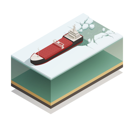 Icebreaker ship afloat breaking ice with thick water layer beneath vessel isometric model composition vector illustration