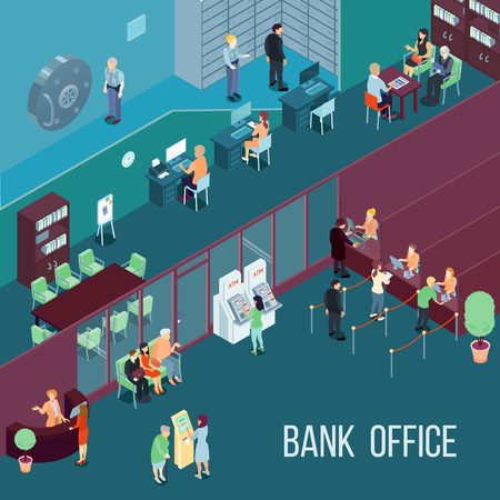 Bank office isometric vector illustration  with employees customers terminals and bank vault vector illustration Illustration