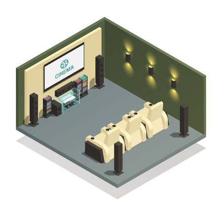Isometric room interior with modern home theater and comfortable armchairs on white background 3d vector illustration