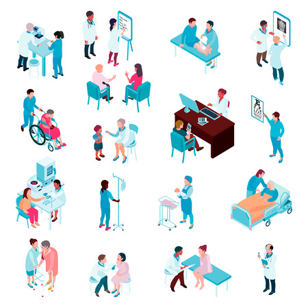 Medical care isometric set of doctors and nurses working with patients in hospital departments vector illustration Illustration