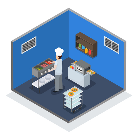 Professional kitchen facility interior isometric composition with chef at hot food unit and mini conveyor vector illustration Иллюстрация