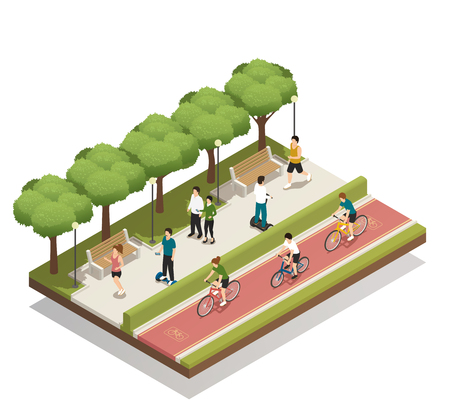 Urban landscape composition with people in city park riding personal eco green transport isometric vector illustration