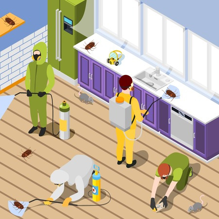 Pest control isometric background with exterminators in protective suits spraying pesticide in home interior vector illustration Illustration