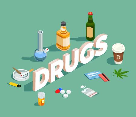 Médicaments composition isométrique avec de l'alcool, des pilules et de l'héroïne en poudre, des cigarettes, du café sur l'illustration vectorielle fond vert Vecteurs